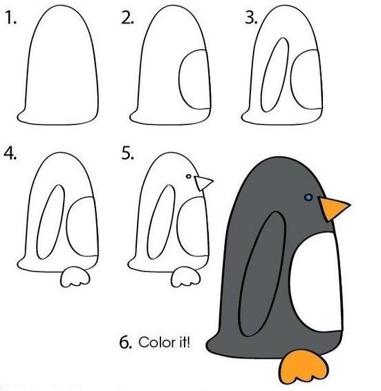 Cómo dibujar un pingüino