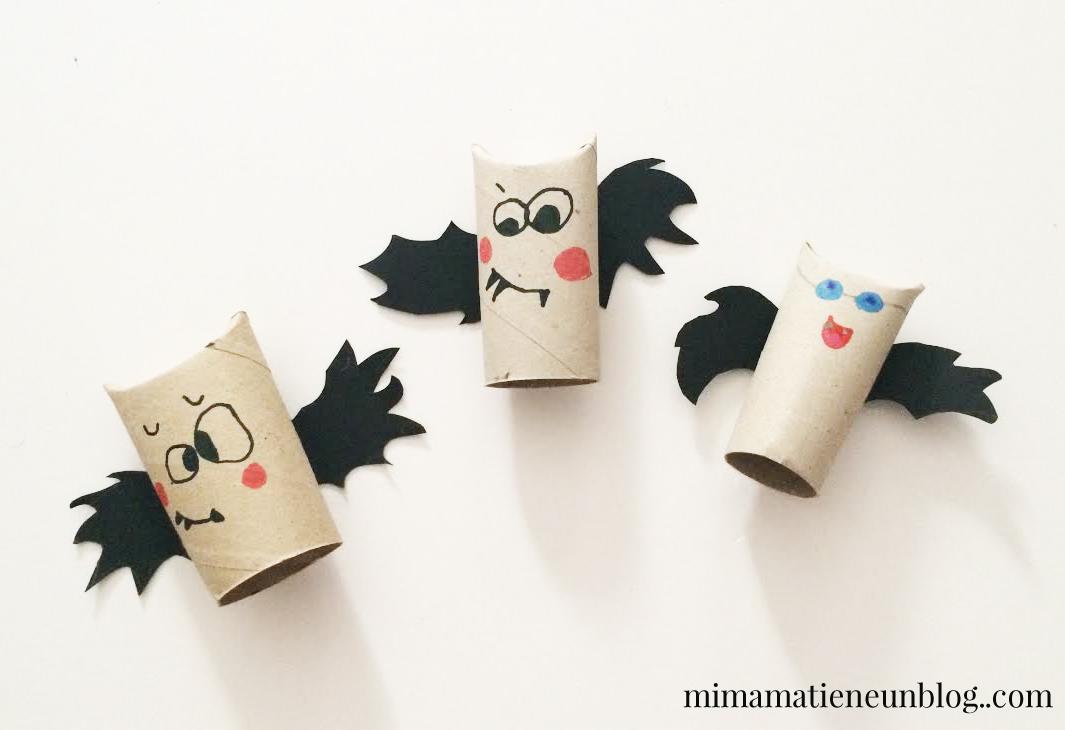 Manualidades Halloween Murcielagos con rollo de papel higienico
