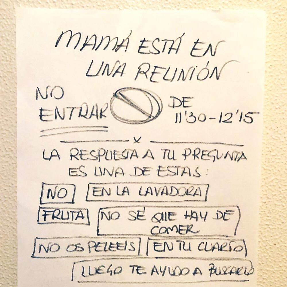 CARTEL MADRE NO ENTRAR TELE TRABAJO REUNION