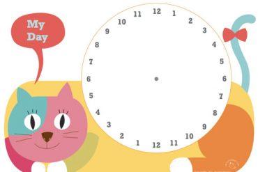 Fichas imprimir reloj niños Horas del día
